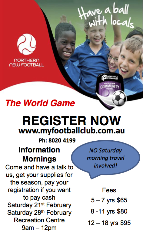Soccer Rego ad  for schools