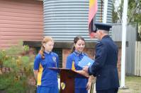 Wing Commander, Alistair Third, made a presentation to the School Captains, Charlotte and Madison, on behalf of Karuah RSL